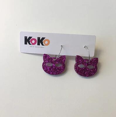 Hoop Earrings, Glitter Cat - Fuchsia Glitter