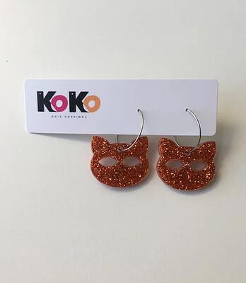 Hoop Earrings, Glitter Cat - Copper Glitter