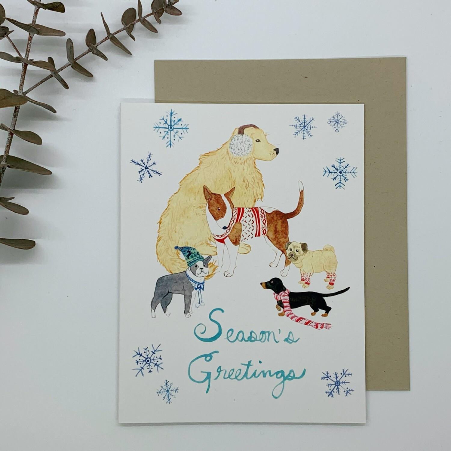 Winter Dog Pack Card, Small