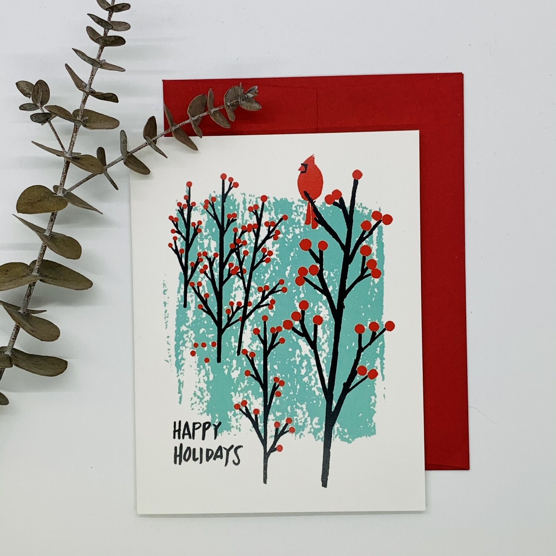 Happy Holidays Cardinal, Single Holiday Card