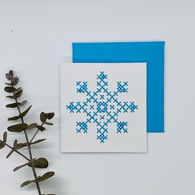 Small Card, Blue Snowflake Cross-stitch on White