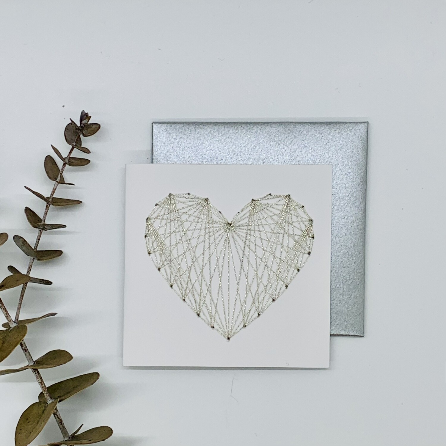 Small Card, Metallic Silver String Heart on White