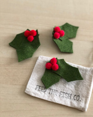 Holly, Felt Clip - Assorted