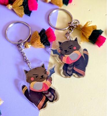 SALE - Keychain, Wakanda Warrior Kitty