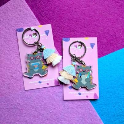 SALE - Keychain, Crafty Kitty