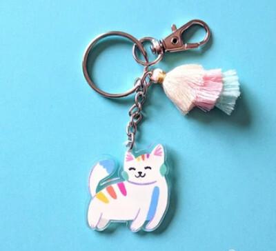 SALE - Keychain, Rainbow Kitty