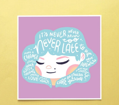 Art Print, Hair Emotions - Never Too Late (6x6)