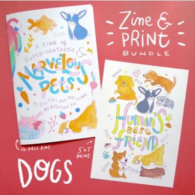 Zine, Marvelous Pets Zine & 5x7 Art Print Print Bundle - Dog