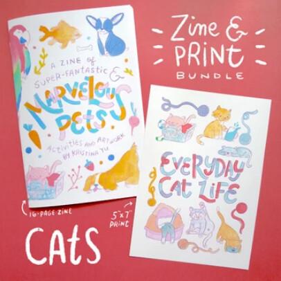 Zine, Marvelous Pets Zine & 5x7 Art Print Bundle - Cat