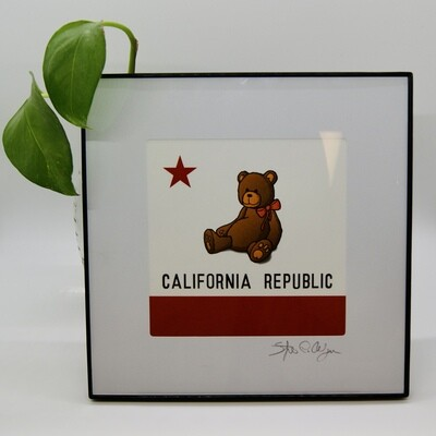SFantastic #3101 CA Flag Teddy Bear 5x5 Print Framed