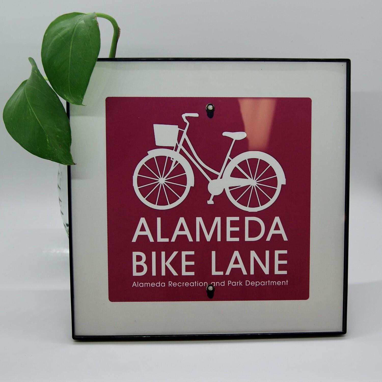 Alameda Bike Lane #01 5x5 Print Framed