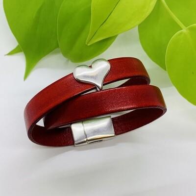 Double Wrap Bracelet, Heart - Red