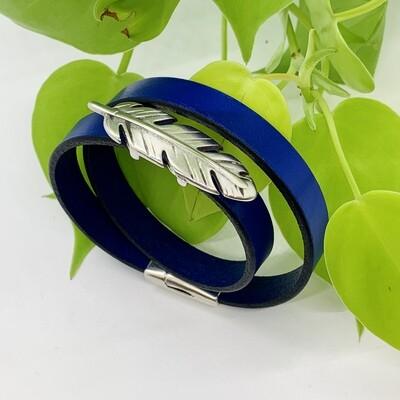 Double Wrap Bracelet, Feather - Metallic Blue
