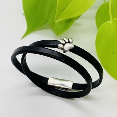 Double Wrap Bracelet, Paw Print - Black