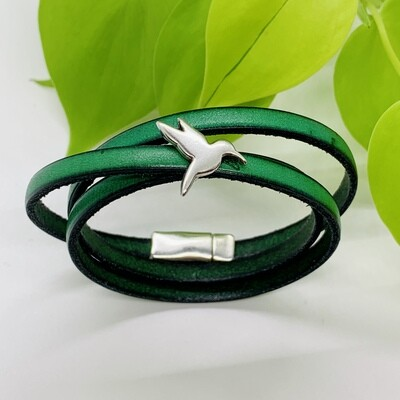 Triple Wrap Bracelet, Hummingbird - Green