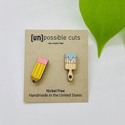 Pencil & Brush Earring