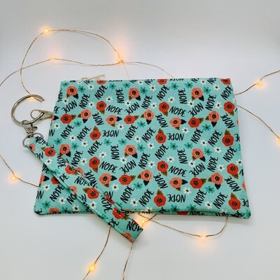 Sassy Clutch, Teal Nope