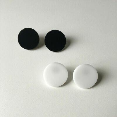 Stud Earrings, Day-Night - White