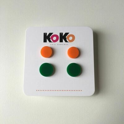 Koko Stud Pack - Orange-Green
