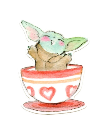 Tea Cup Baby Yoda Sticker