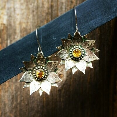 Citrine Sterling Silver Floral Earrings