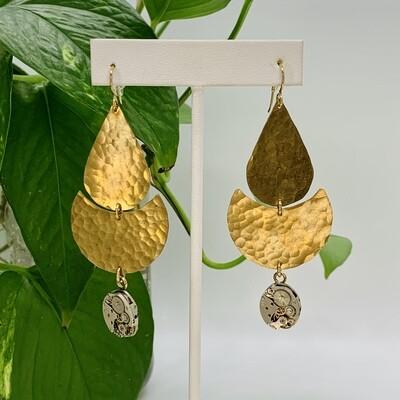 Clockwork ECLIPSE Earrings, Brass & GF