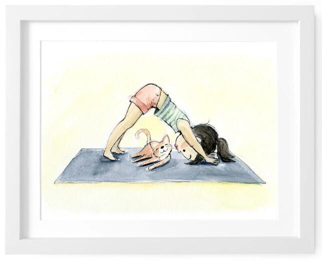 Downward Dog, Sleeping Cat 8x10 print