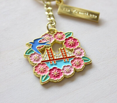 Cherry Blossom Golden Keychain