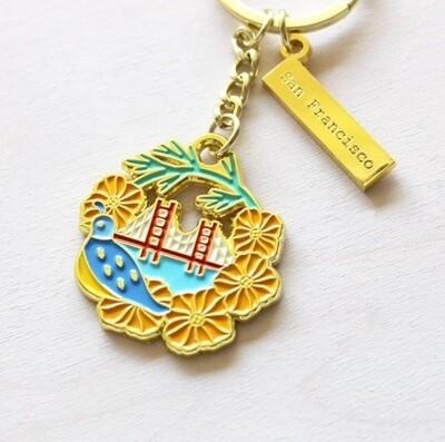 California Poppy Golden Keychain