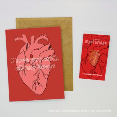 PREORDER - Valentine Card & Pin Set: Anatomical Heart