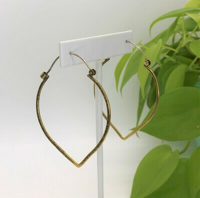 Hammered Lotus Petal Earrings - Brass