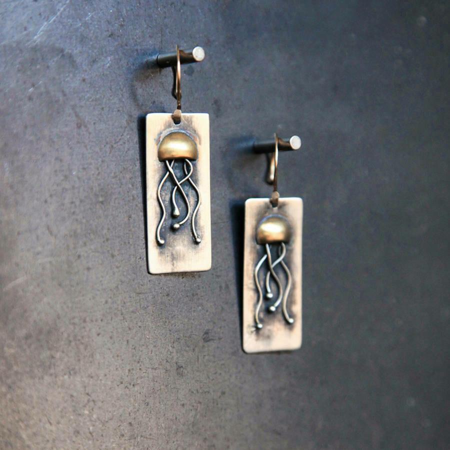 Mixed Metal Jellyfish Earrings
