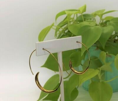 Brass Single Wave Hoops