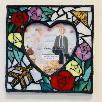 Handmade Mosaic Frame - Roses