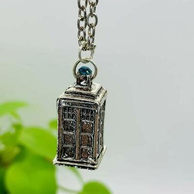 3D Silver TARDIS Necklace