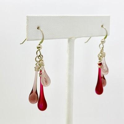 Swirling Pink Trio Earrings