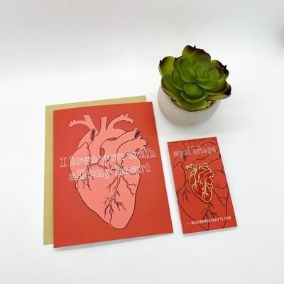 Card & Pin Set: Anatomical Heart