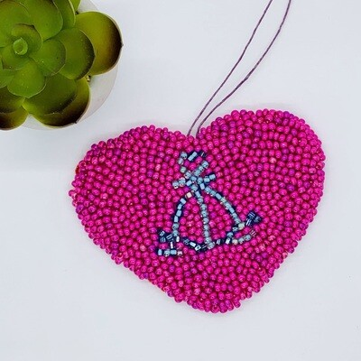 Large Heart Beaded Wall Hanging - Alameda