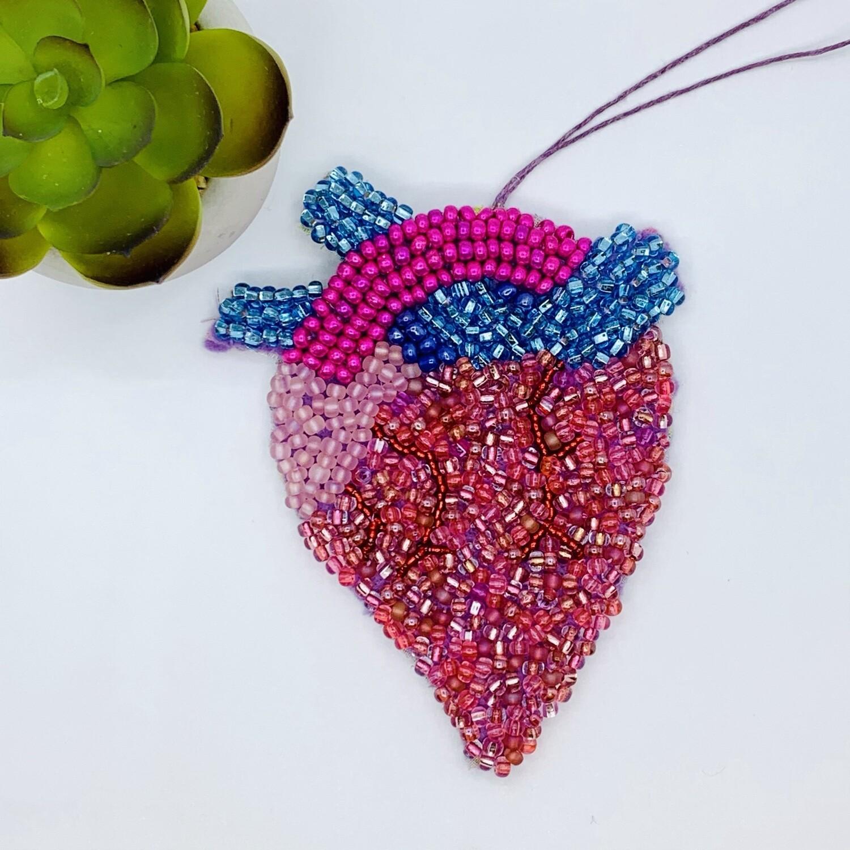 Pocket Heart Beaded Wall Hanging - Pink Heart