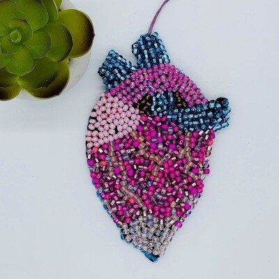 Pocket Heart Beaded Wall Hanging - Blue Heart