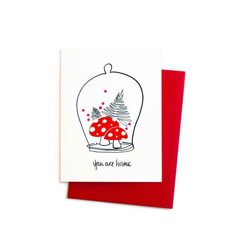 You Are Home Mushrooms Cloche, Single Card