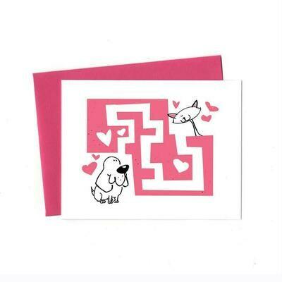 Love Maze Cat and Beagle, Single Card