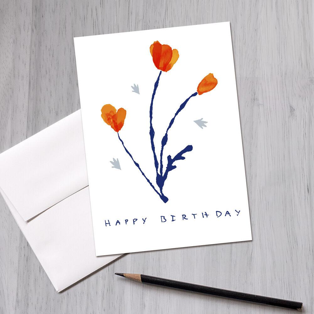 California Poppies   Happy Birthday Greeting Card, 5x7