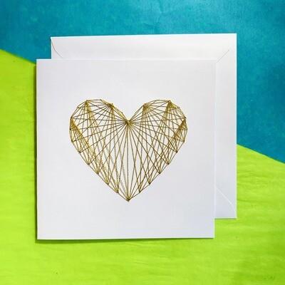 Large Card, Metallic Gold String Heart on White