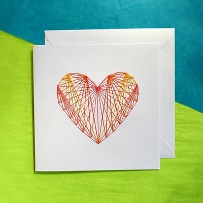 Large Card, Pink, Orange, & Gold Heart on White
