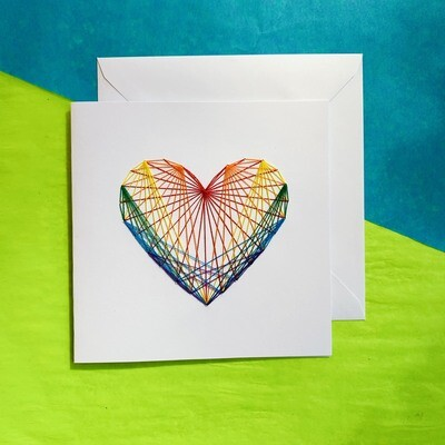Large Card, Rainbow String Heart on White