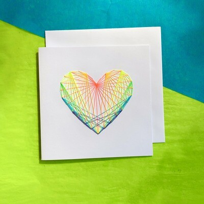 Large Card, Fluorescent Rainbow String Heart on White