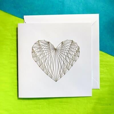 Large Card, Metallic Silver String Heart on White