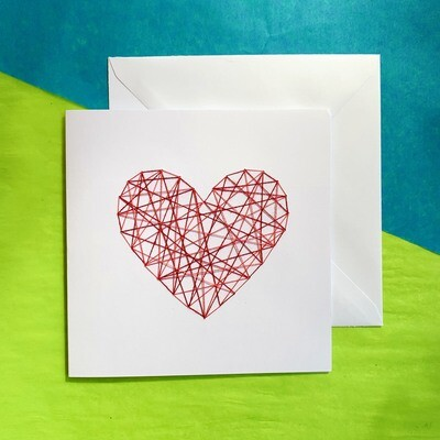 Large Card, Red & Pink String Heart on White