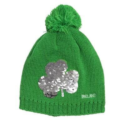 Shamrock Sequin Knit Hat